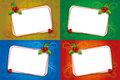 Free Four Christmas Card Blank Frame With Mistletoe Stock Images - 26423354