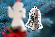Free Christmas Decoration Of Angel And Handmade Bell Stock Images - 26421124