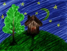 Free Children S Paint House At Night Stock Image - 26421181