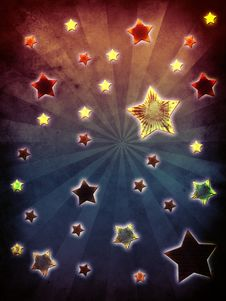 Free Colorful Grunge Stars Background Royalty Free Stock Images - 26421189