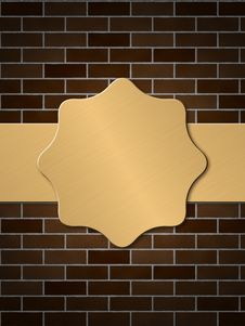 Free Golden Plate On Brick Wall Royalty Free Stock Images - 26421239