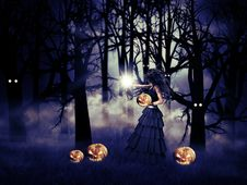 Halloween Witch With Pumpkin Royalty Free Stock Images