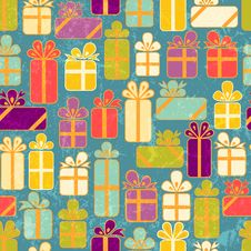 Free Seamless Pattern With Colorful Gifts Royalty Free Stock Image - 26421616