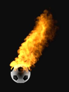 Flying Ball In The Fire Stock Photography
