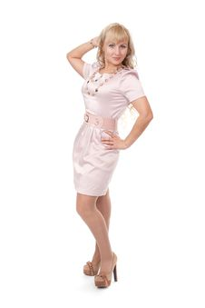 Young Blonde Woman Posing In Stylish Dress Stock Image