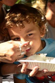 Free A Young Boy Eating A Cake Stock Images - 26422854