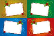 Four Christmas Card Blank Frame With Mistletoe Stock Images