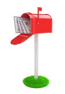 Red Mailbox With Mails Stock Photo