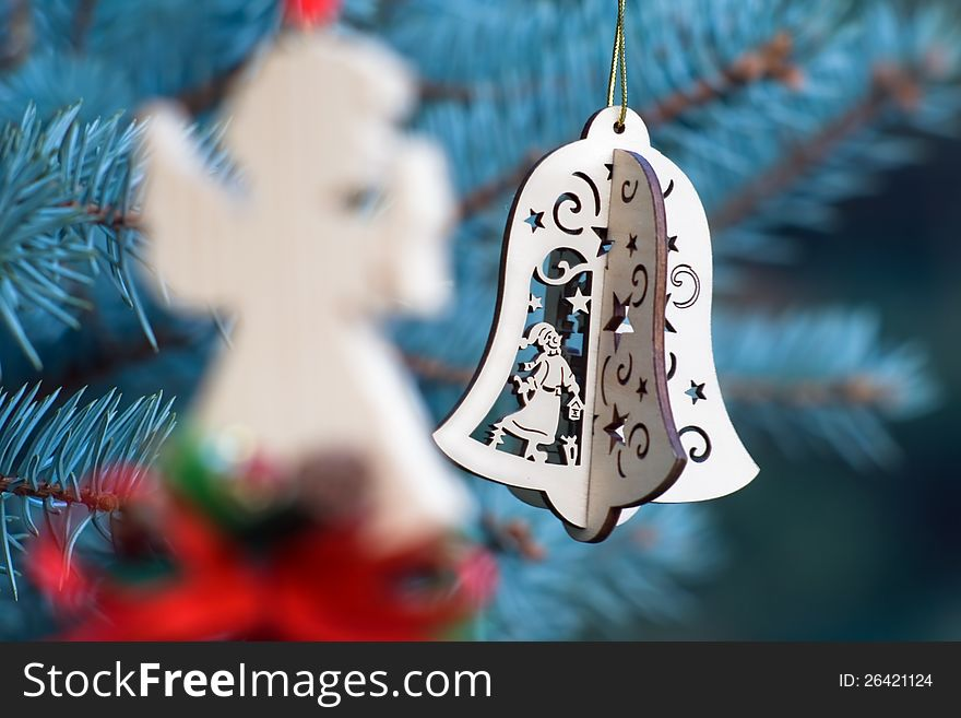 Christmas decoration of angel and handmade bell