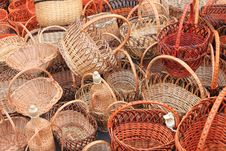 Free Many Beautiful Wooden Wicker Baskets Royalty Free Stock Images - 26432879
