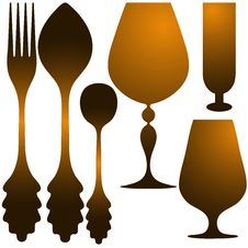 Free Cutlery Golden Set Royalty Free Stock Photography - 26433437