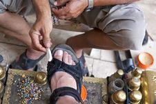 Free Turkish Bootblack At Work Royalty Free Stock Photo - 26437025