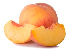 Ripe Peach Fruit And Slices Royalty Free Stock Image