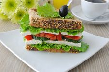 Free Sandwich With Cheese And Vegetables Royalty Free Stock Photos - 26446508
