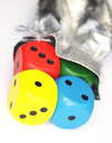 Free Color Dice With Sack Royalty Free Stock Image - 26456546