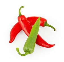 Red And Green Chili Pepper Isolated On White Royalty Free Stock Images