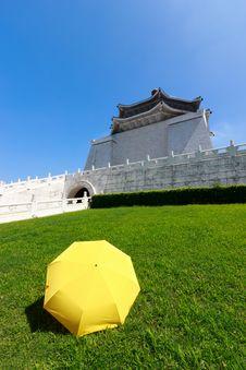 Free Yellow Umbrella On Green Grass With Blue Sky Stock Photos - 26451853