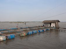 Free Fishery In The Water Cages At Khong River Thai Stock Photography - 26454912