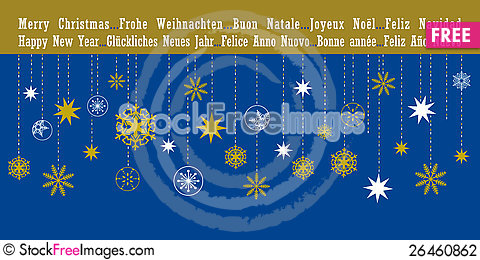 Free Christmas Greetings Card In Different Languages Stock Photography - 26460862