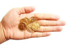 Free Woman Hand Holding Gold Coins On Isolated White Royalty Free Stock Image - 26461006