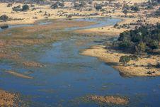 Okavango Delta From The Sky. Royalty Free Stock Photography