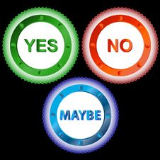 Free Yes No And Maybe - Three Signs Stock Photos - 26466843