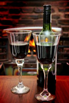 Free Wine At The Fire Stock Photo - 26469010