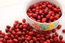 Free Red Cornel In Old-styled Metal Bowl Stock Photo - 26470710