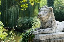 Lion Sculpture In Park Area Stock Images