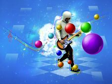 Dancing Guitar Player Royalty Free Stock Images