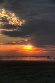 Free Dawn. Meadow. Fog. Stock Photo - 26479290