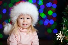 Christmas Kid Over  Bright Festive Background Stock Images