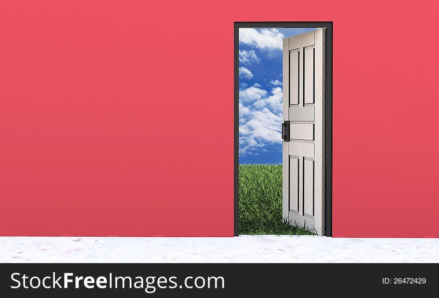 White door opened in beautiful nature