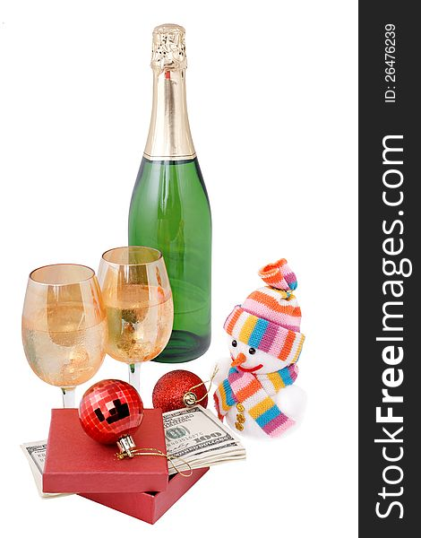 Champagne and gifts isolated