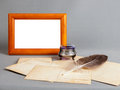 Free Wooden Frame, Silver Old Ink, Pen, Old Postcards Stock Image - 26485411