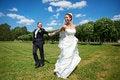 Free Happy Groom And Happy Bride On Wedding Walk Stock Images - 26489324