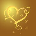 Free Gold Heart  Frame For Valentine Day Royalty Free Stock Photography - 26494937