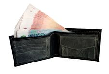 Free Black Purse With Money. Stock Photography - 26498232