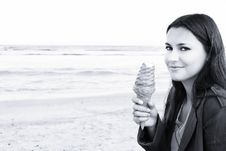 Free Beautiful Woman With Ice-cream Royalty Free Stock Images - 2650879