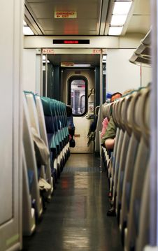 Inside The Commuter Train Stock Image