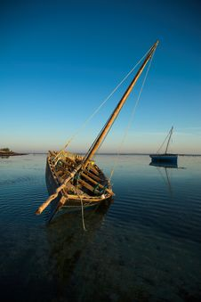 Dhows Waiting In The Water Stock Images