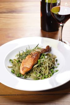 Salmon With Wild Garlic Pasta Royalty Free Stock Photography