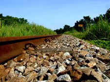 Rail Way Tracks In The Town Royalty Free Stock Image