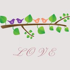 Free Love Birds On A Tree Royalty Free Stock Images - 26515469