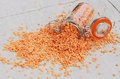 Free Red Lentils On Linen Table Napkin Royalty Free Stock Photos - 26527348