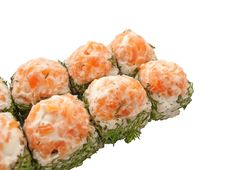 Free Sushi Rolls With Salmon And Dill Isolated On White Royalty Free Stock Image - 26522626