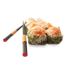Free Sushi Rolls With Salmon  And Dill Stock Photo - 26522640