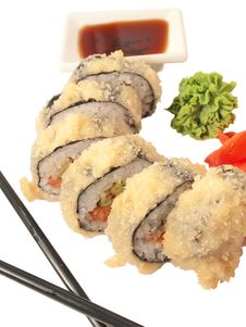 Free Rolls In Batter And Chopstick  Isolated Royalty Free Stock Images - 26522659