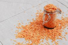 Free Red Lentils On Linen Table Napkin Royalty Free Stock Photo - 26527305