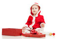 Free Santa Claus Baby Girl With Gift Box Royalty Free Stock Photo - 26534205